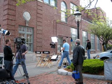 TSOT film crew sets up for media interviews in DTL
