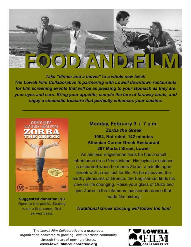 "Join us for ""Food & Film"" at the Athenian Corner!"